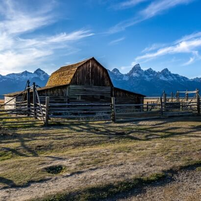 Grand Teton National Park John Moulton Barn mountains backdrop