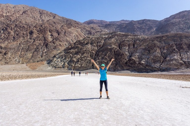 Kristen Badwater Basin Death Valley National Park California lowest point in north America