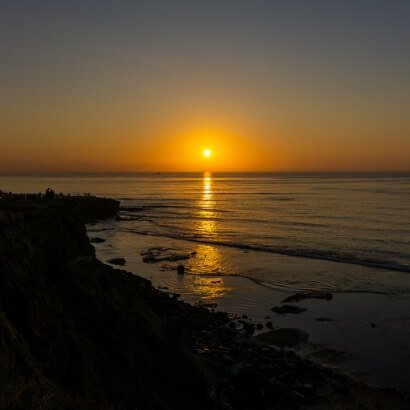Sunset at La Jolla cliffs in San Diego California