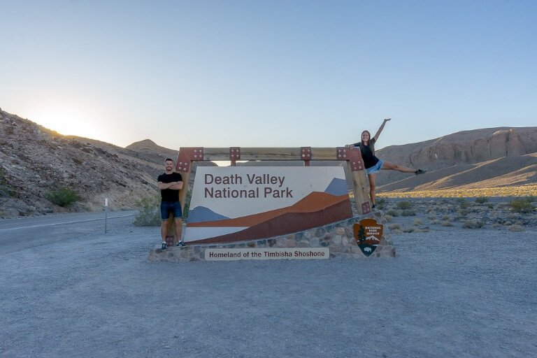 Mark and Kristen at Death Valley national park entrance sign California national park