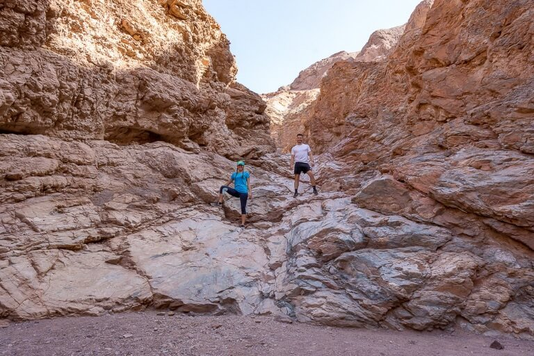 Mark and Kristen stood on dried up waterfall rocks in Death Valley California