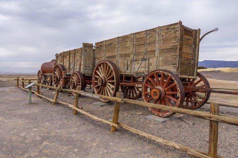 Old train and wagons harmony borax works in California