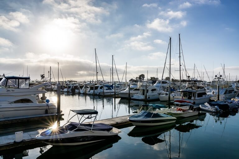 San Diego bay marine sun reflecting off speedboats and yachts