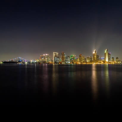 San Diego night scene from across the river California night photography