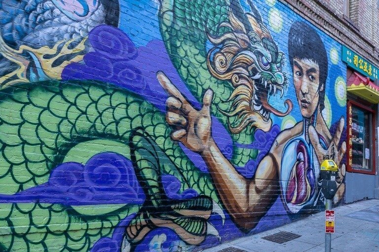 Chinatown San Francisco Bruce Lee Mural on wall