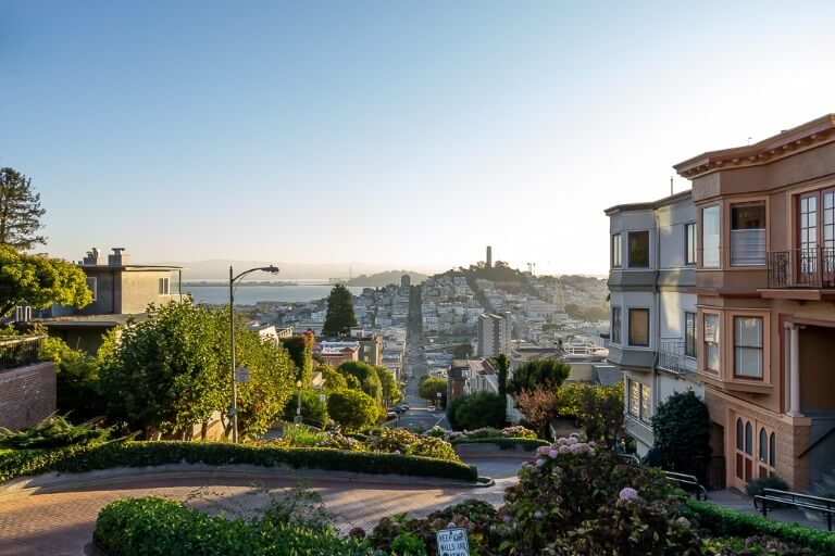 Coit Tower in the distance on top of the hill