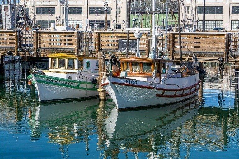 Boats in marina near fisherman's wharf in san Francisco bay