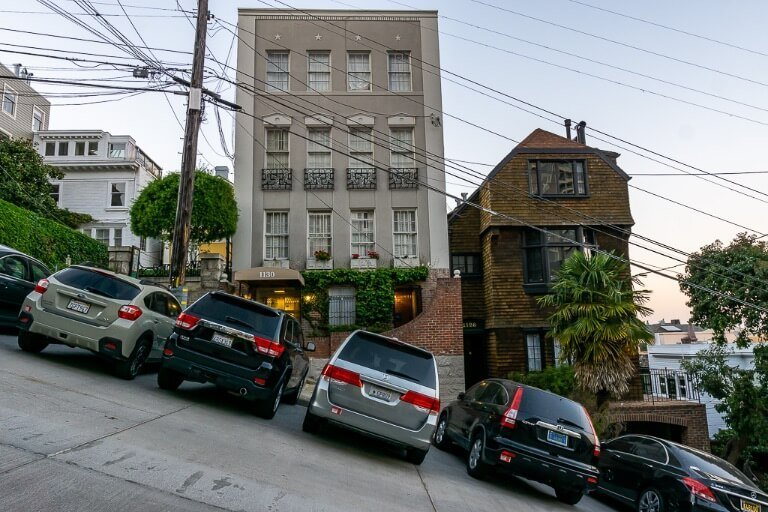 Steep hill with cars parked in San Francisco California