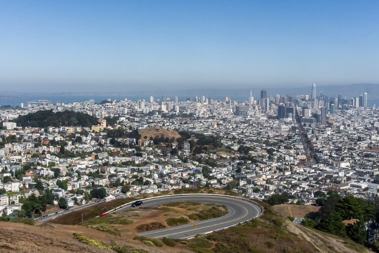 View of San Francisco from twin peaks perfect to add to itinerary for first time visitors