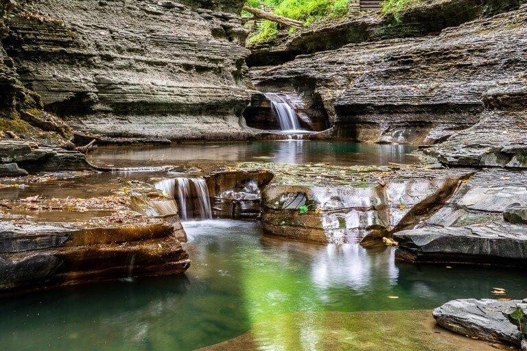 Epic gorge and waterfalls with plunge pools on gorge trail at buttermilk falls state park Ithaca ny finger lakes