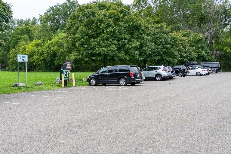 Overflow parking lot at Buttermilk Falls State Park near Ithaca New York