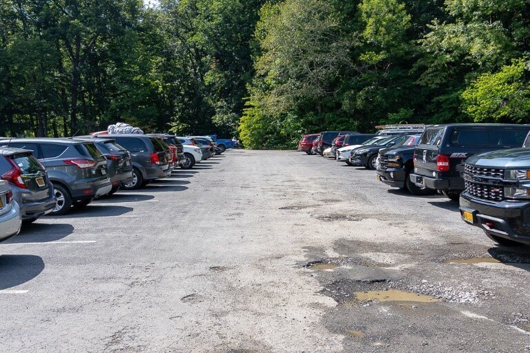 main entrance southeast to Robert H treman state park parking lot in finger lakes Ithaca New York