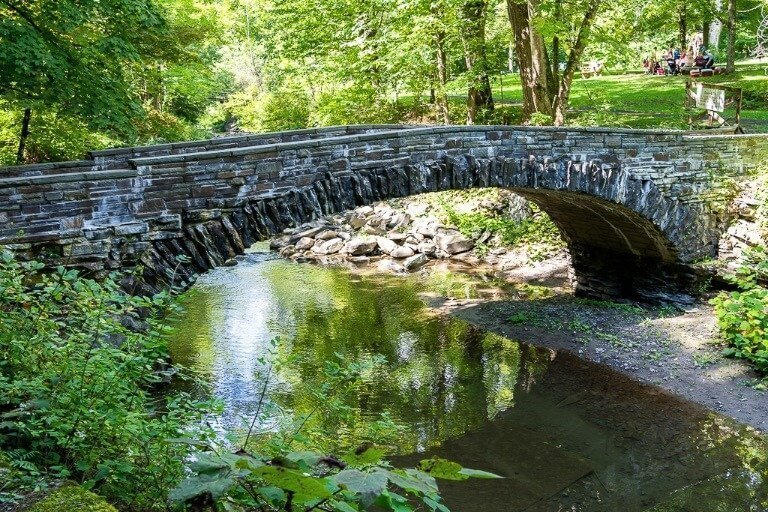 Stone bridge passing over a river in Ithaca New York
