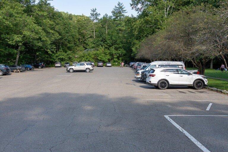 North entrance parking lot at Robert H treman state park New York finger lakes