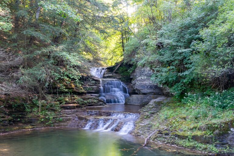 Small waterfall in car park of state park near ithaca ny