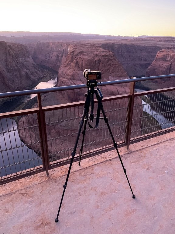 Our Sony a6000 on a tripod taking photographs at Horseshoe Bend Arizona
