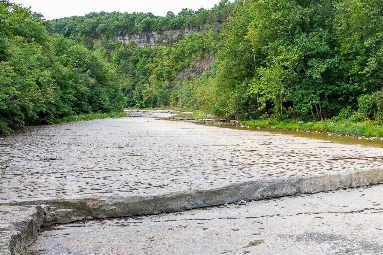 Dry Riverbed creek on gorge trail to waterfall in New York finger lakes