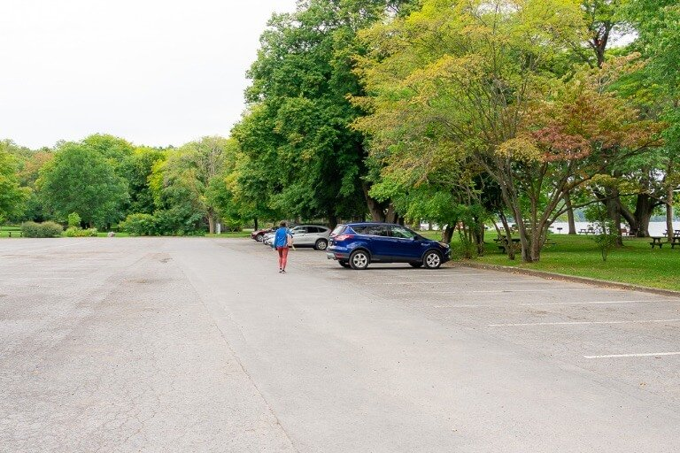 Parking lot at taughannock falls state park near Ithaca ny