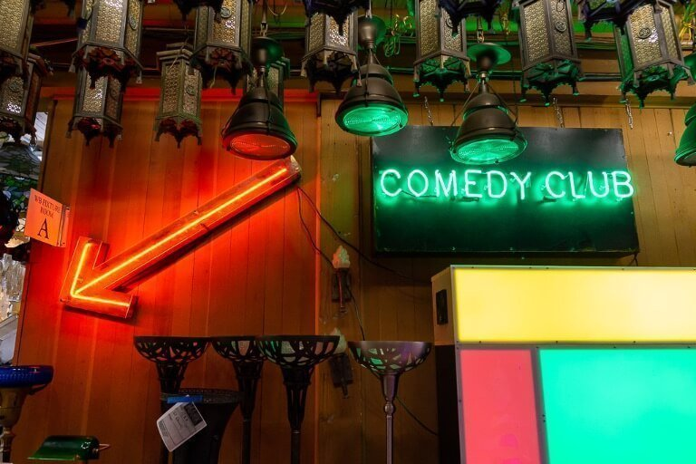 Comedy club neon sign from the joker movie