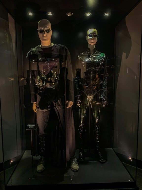 Costumes of Neo and Trinity from the Matrix on exhibit in Warner Bros studio tour Hollywood