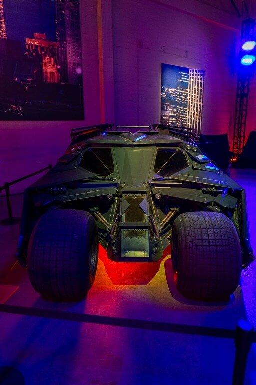 Christian Bale Batman tumbler at Warner Bros studio Hollywood