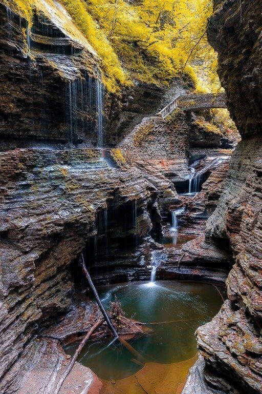 Photography at Watkins Glen State Park Finger Lakes NY fall foliage at Rainbow Falls waterfall