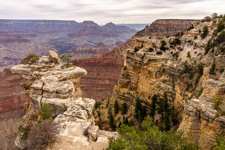 Awesome rock formations jutting out with sheer cliffs on Arizona day trip