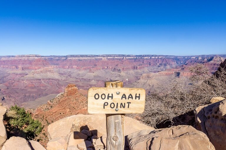 Ooh Aah point is the first major checkpoint on South Kaibab hiking trail from Grand Canyon South Rim continue further to Cedar Ridge or turn back here on a day trip