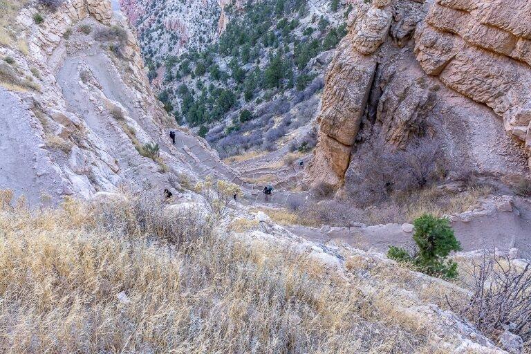 Switchbacks on Bright Angel hiking trail Grand Canyon South Rim Arizona