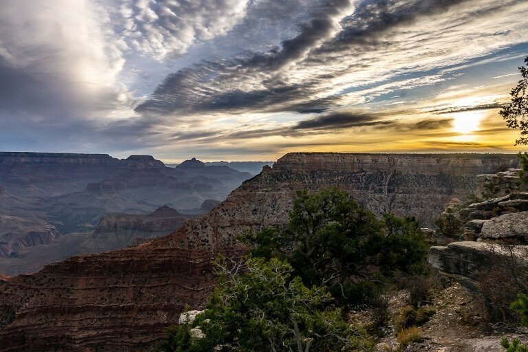 Stunning clouds forming at sunrise over the Grand Canyon looking east in Arizona