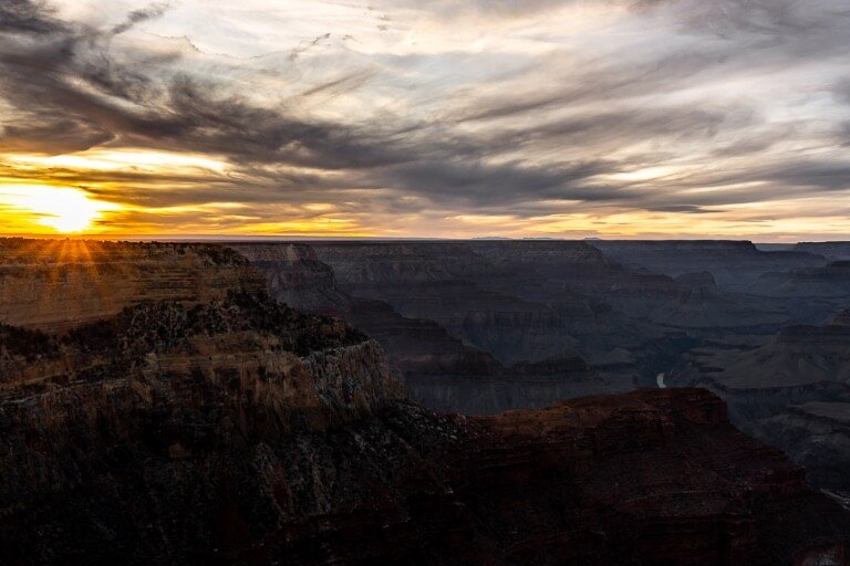Sunset Hopi Point Grand Canyon South Rim best way to end a one day itinerary