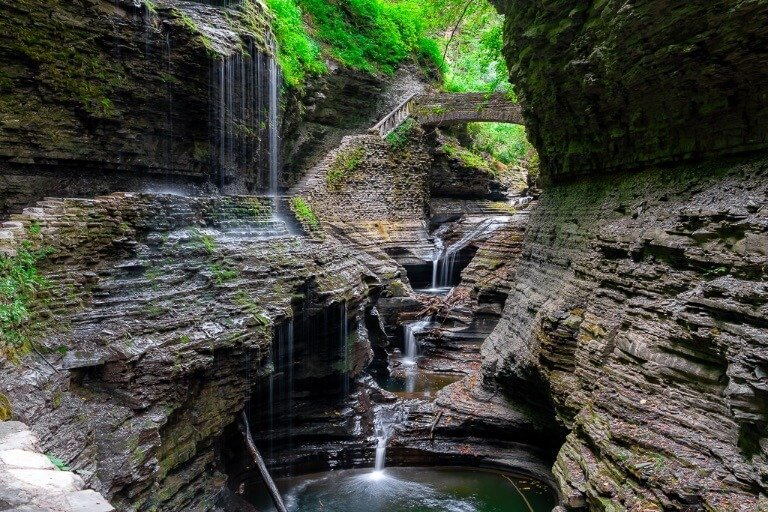 New York Waterfalls Watkins Glen in Summer Rainbow Falls one of the best waterfalls in New York