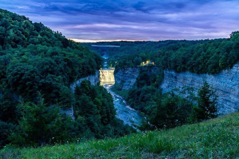 Waterfall at night in Letchworth State Park near Rochester NY