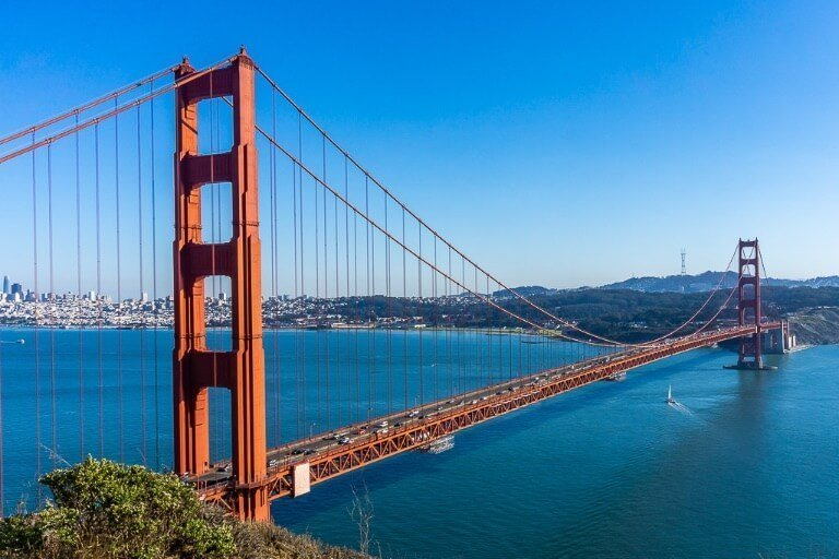 Photographing San Francisco's golden gate bridge is one of the best things to do on a pacific coast highway road trip driving from San Francisco to San Diego