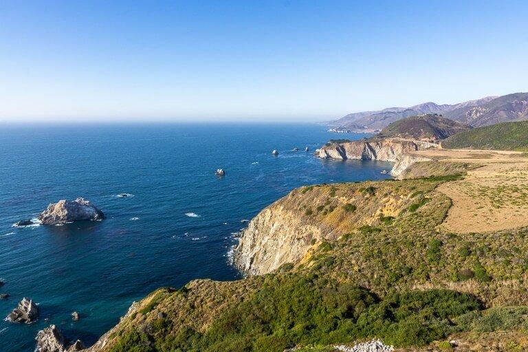 Pacific Coast Highway 1 California headland with Pacific Ocean
