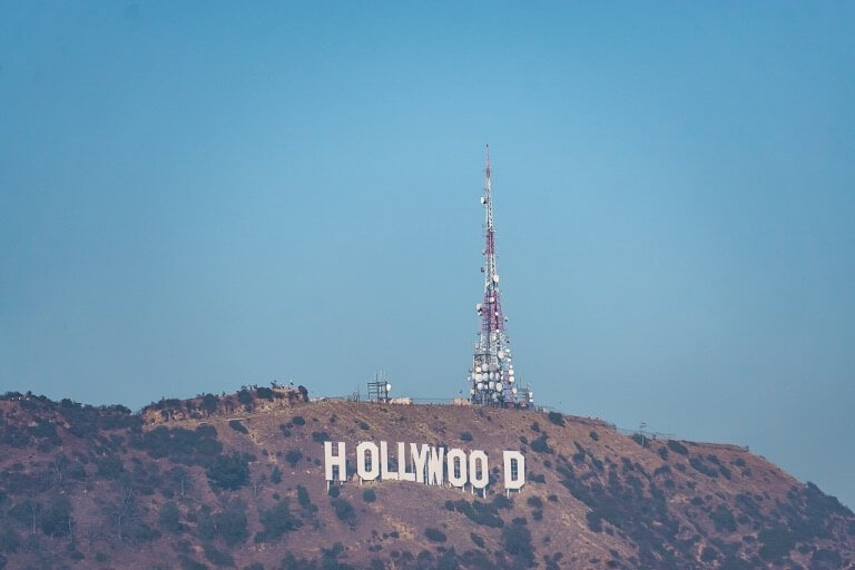 Hollywood sign easily viewed from Mulholland Drive