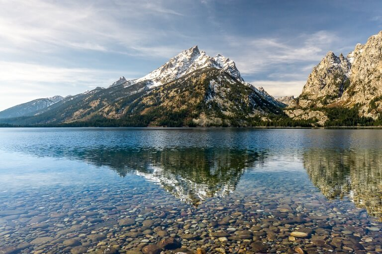 Grand Teton mountains reflection in jenny lake stunning scene