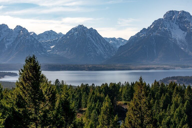 Awesome mountain and lake views from signal mountain summit at grand teton national park in wyoming