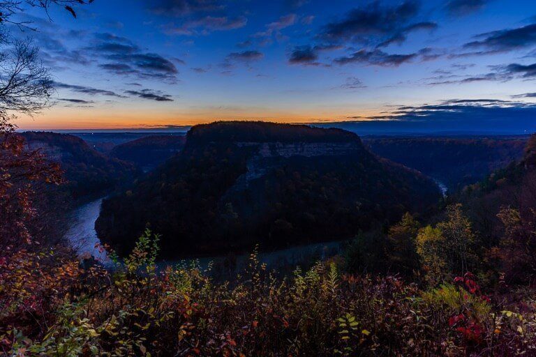 Sunrise photography great bend overlook letchworth state park new york