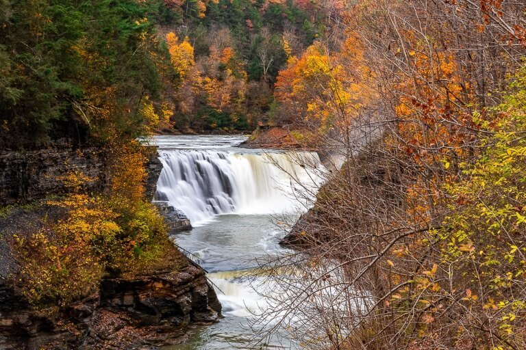 Lower Falls at Letchworth State Park Western New York in Fall with beautiful foliage