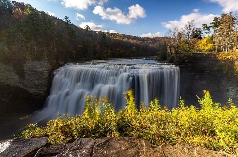 Letchworth State Park middle falls from small observation platform in front of waterfall