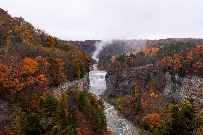 Middle and Upper Falls with beautiful gorge in fall spectacular colors new york