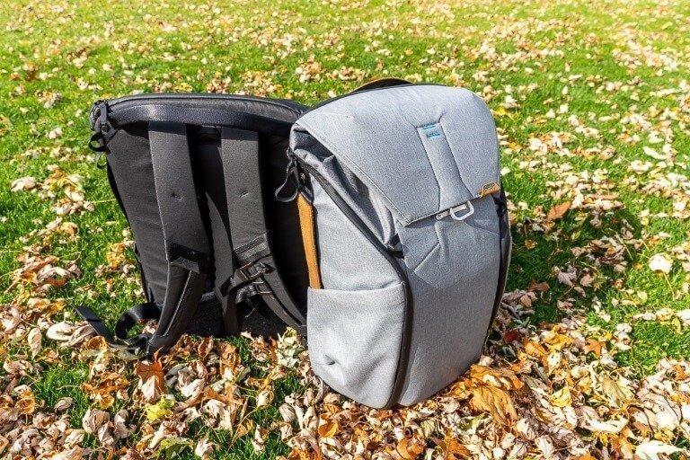 Rigid frame and padded shoulder straps plus back padding on backpack