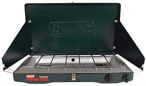 Two burner propane fed stove perfect for travelers road trips and camping