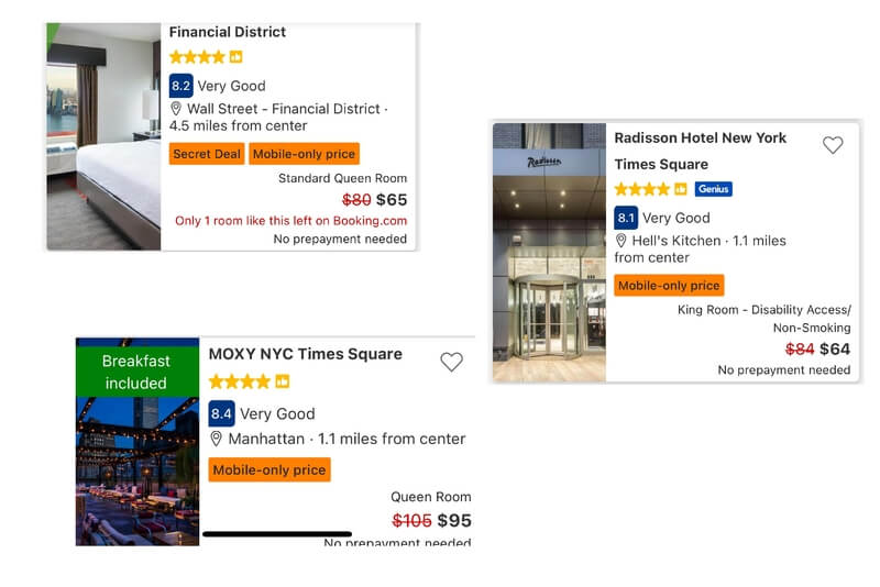 Download mobile apps for the big hotel search booking engines like booking.com agoda Expedia to get special deals like mobile only prices