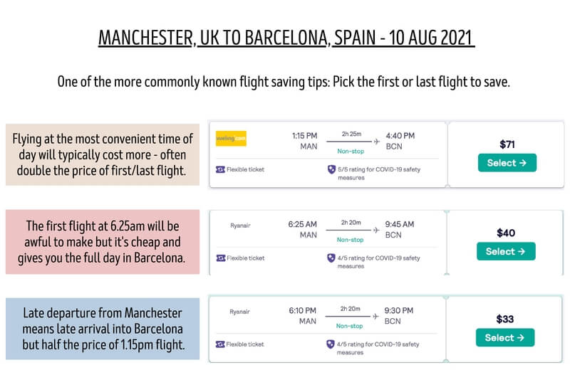 Search For Early and Late Departures To Save Money