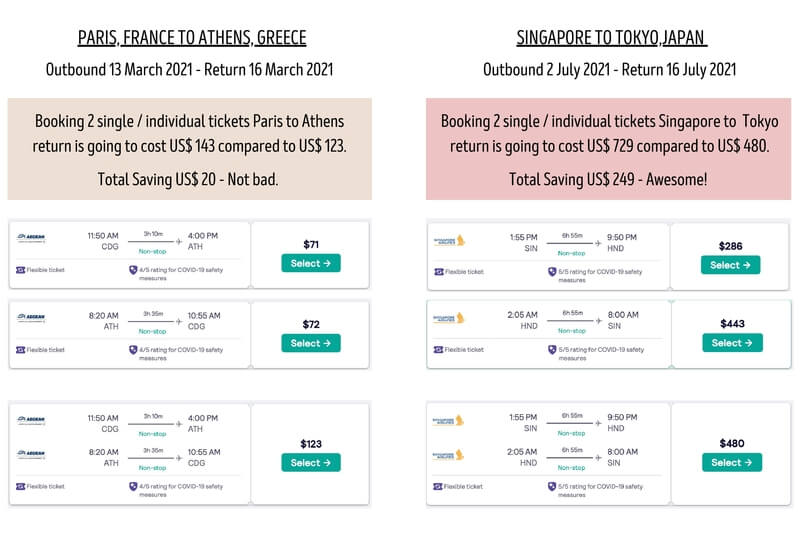 Booking individual single flight tickets vs return tickets - which is cheaper? They both can be cheaper depending on route and dates.