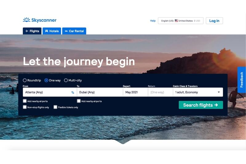 Use Flight Booking Search Engines to find the best deals and cheapest prices