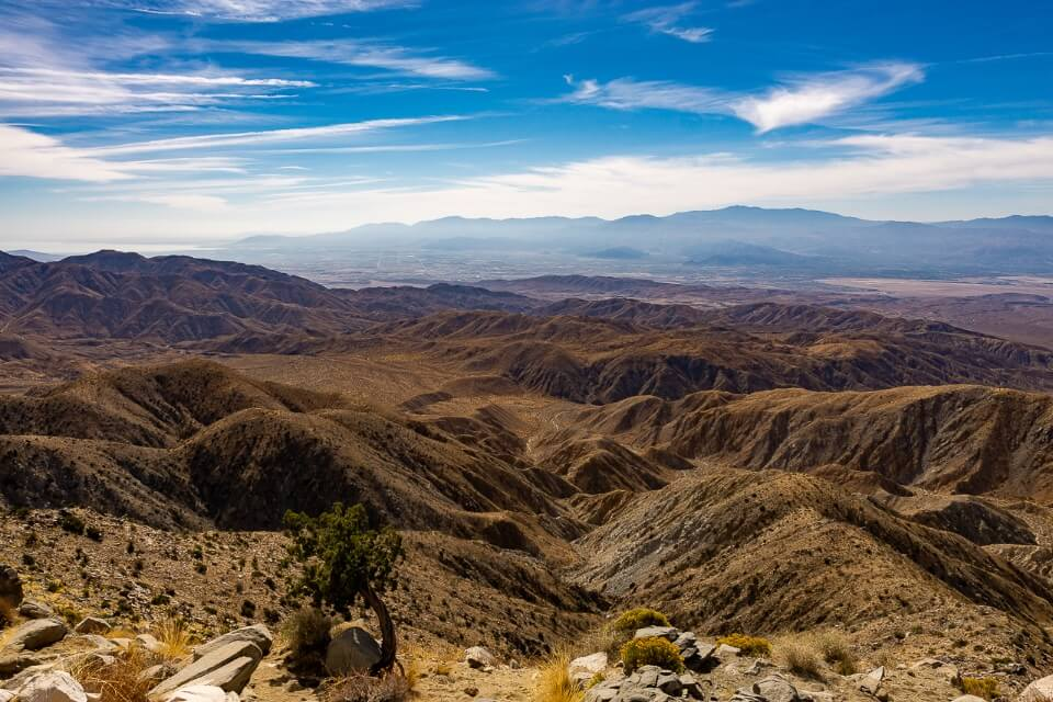 Awesome view of the san andreas fault line and coachella valley from keys view in joshua tree national park california
