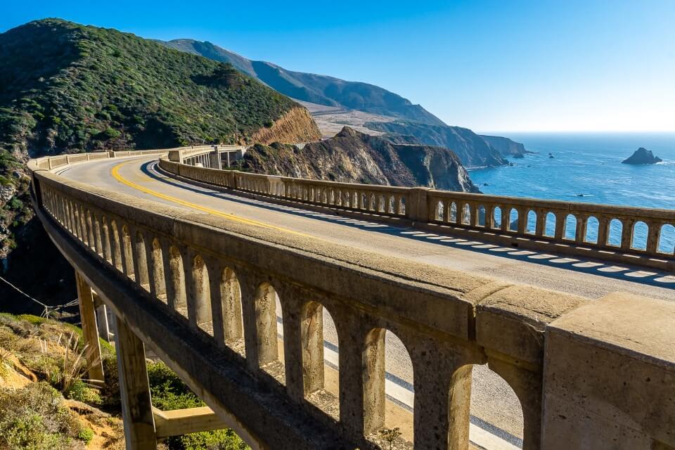 USA photography images of california big sur coastline on pacific highway bixby bridge